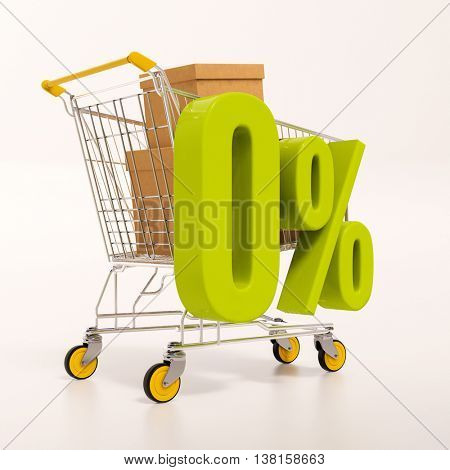 3d render: shopping cart and green 0 percentage sign on white