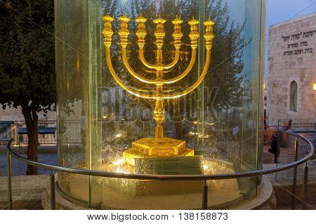 Jerusalem Israel - July 01 2016: Golden Menorah in Jerusalem near Wailing Wall at night