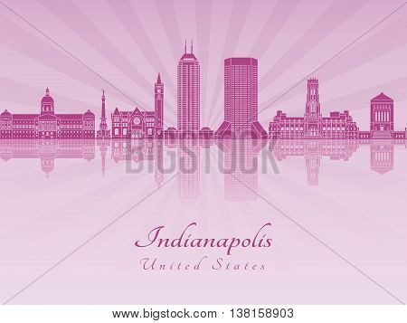 Indianapolis skyline in purple radiant orchid in editable vector file