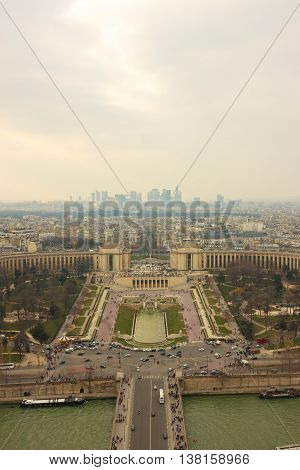 Panorama of the Trocadero and La Defense from Eiffel Tower Paris France