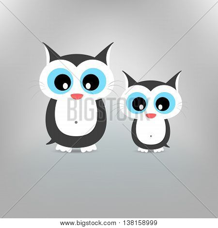 Cute cat family Mother cat and Child kitten Illustration standing at clear background.