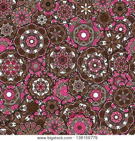 Repeating geometric tiles with mandala. Vector laced decorative background with floral and geometric ornament. Seamless oriental ornamental pattern. Indian or Arabic motive. Brown pink.