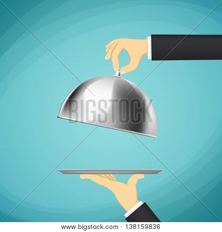 Waiter holding a tray with a dome in his hands. Stock Vector cartoon illustration.