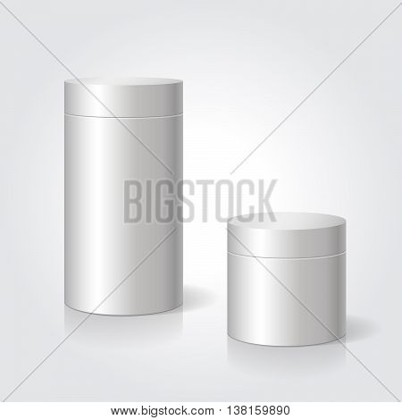 Realistic blank white package box mock up to advertise goods. Cylindrical container. Packaging template. .