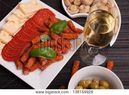 Salami, Kabanos, Cheese Starters And Wine