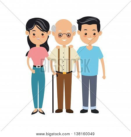 Family cartoon concept represented by grandfather and parents icon. Isolated and Colorfull illustration.