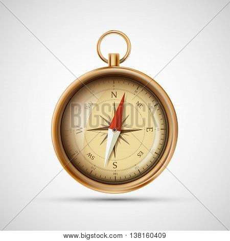 Icon old metal compass. Stock vector realistic illustration.