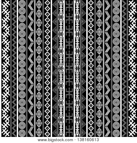 Black and white background with ethnic motifs and ornaments