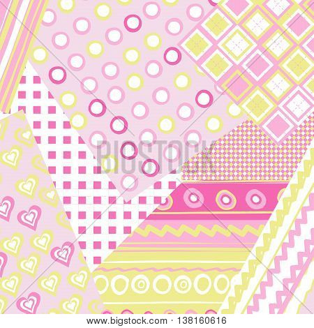 Patchwork cover for baby girl with dots and lines
