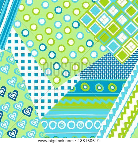 Patchwork cover for baby boy with dots and lines