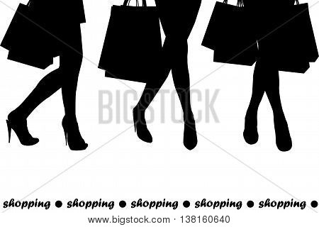 Women silhouettes holding shopping bags on white background