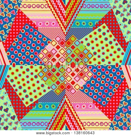 Multicolored patchwork cover with dots and stripes
