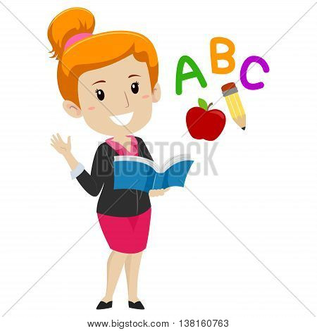 Vector Illustration of a Teacher holding Book