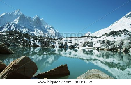 Blue mountain lake in Himalayan