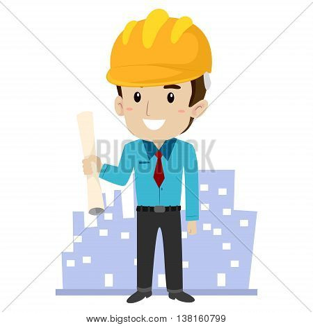 Vector Illustration of an Architect with Building Background