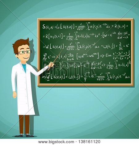 Man in white lab coat standing next to a chalkboard. Mathematical equation. Stock Vector cartoon illustration.
