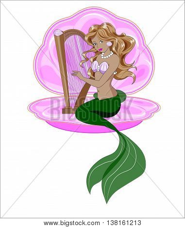The Little Mermaid with long hair plays a harp
