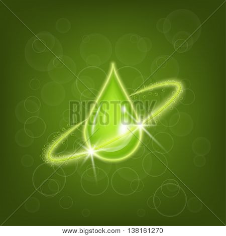 Drop of olive oil. Vector background for cosmetic products. Design concept with a green blob.