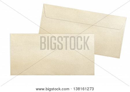 Gold envelopes isolated on white background. Decorative gold envelopes E65 format isolated on white background
