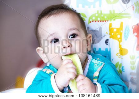 baby eating vegetables. in a high chair. A teething baby, eating the cucumber, the concept of baby food, feeding baby. Newborn home. healthy food.