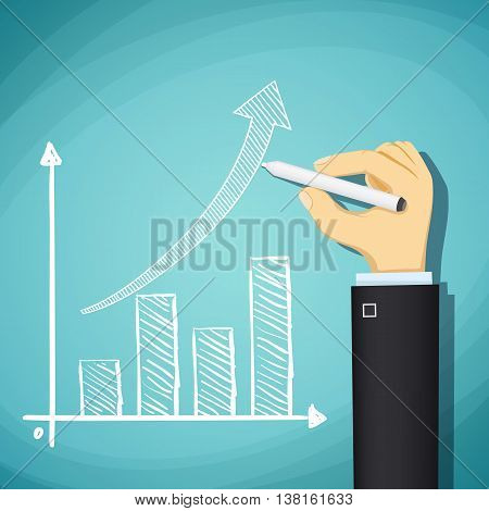 Human hand drawn growth chart. Success in business. Stock Vector cartoon illustration
