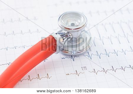 Close Up Of Stethoscope On Ecg Papers