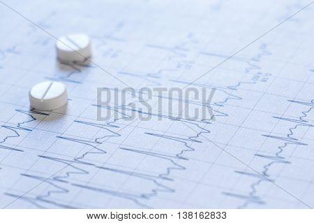 Medicine pills on an electrocardiogram paper close-up