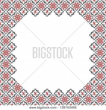 Frame black red patterns on canvas abstract embroidery