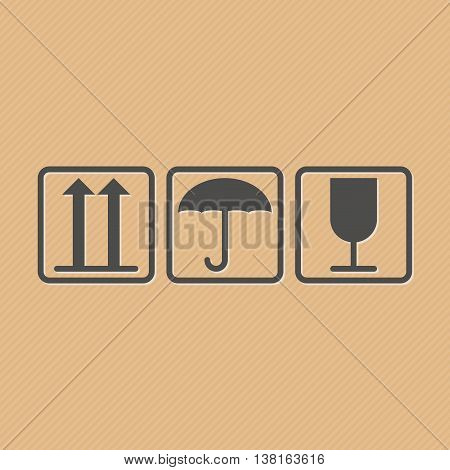 Vector illustration of handling and packing icons for carton box isolated on cardboard brown background. Illustration of cargo symbols. Fragile or packaging symbols.