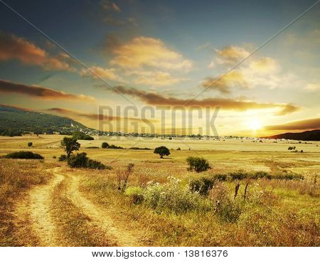 Rural scene on sunset