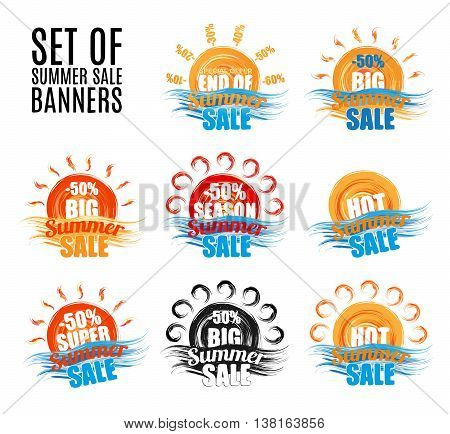 Hot big season summer sale stickers or banners set.