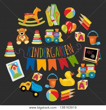 Kindergarten Play and study Vector hand drawn images
