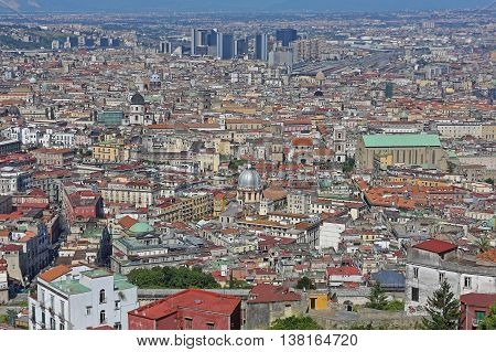 NAPLES ITALY - JUNE 21: Cityscape of Naples on JUNE 21 2014. Aerial Naples City Centre of Campania Italy.