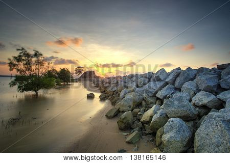Stone bridge over the canal in the Beach