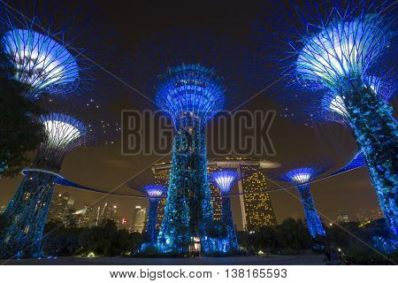 Singapore skyline and view of Marina Bay At Night,on March 27 ,2016