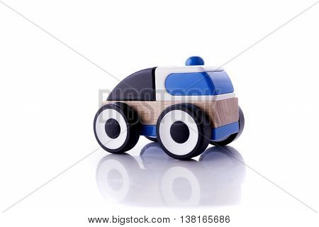 Wooden toy car with isolated over white