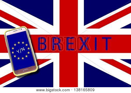 Brexit referendum concept, UK (United Kingdom or British) withdrawal from the EU (European Union), often shortened to Brexit.