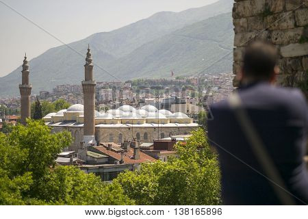 Photographer is capturing famous mosque of ottoman Empire