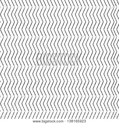 Chevron Zigzag dotted black monochrome pattern. Seamless texture. Vector EPS