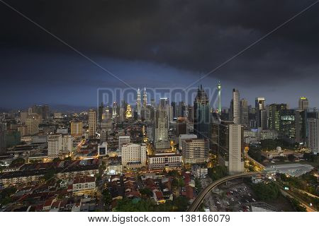 Dramatic scenery of the Kuala Lumpur city with storm coming