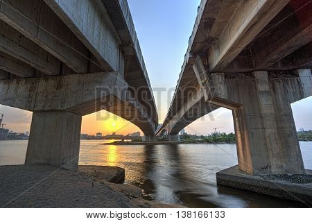 A long exposure picture of Sunset under the bridge