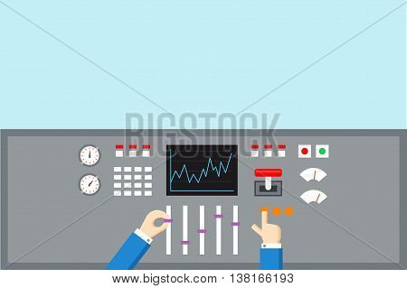 Control and Support concept. Hands operated control panel - flat vector illustration.