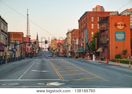 NASHVILLE - AUGUST 27: Downtown Nashville in the morning on August 27 2015 in Nashville TN. Nashville is the capital of the State of Tennessee and the county seat of Davidson County.