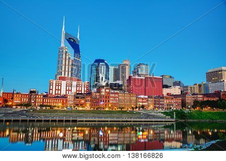 Downtown Nashville early in the morning time