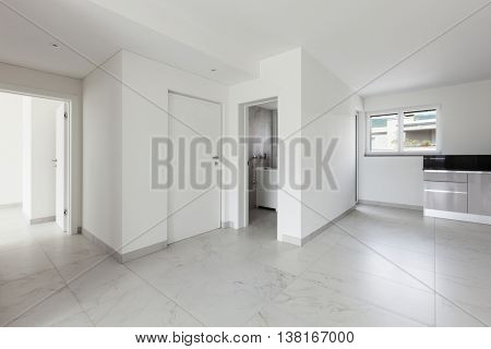 Interior of empty apartment, hall and entrance door