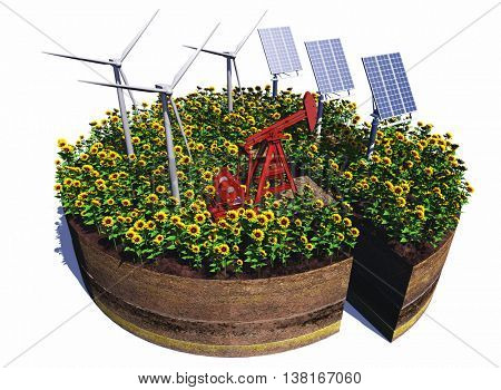 Of wind generators and solar panels on a white background,3d render