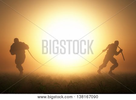 Silhouettes of people pulling the rope.3d render