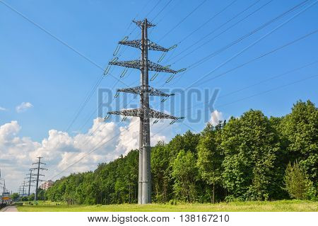 Strong supports of the high voltage line.
