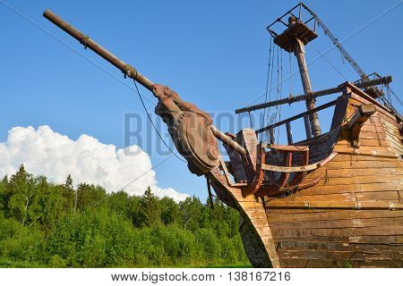 Sculpture on the bow of a wooden ship.