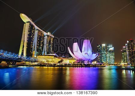 SINGAPORE - NOVEMBER 06: Overview of the marina bay with Marina Bay Sands on November 06 2015 in Singapore.